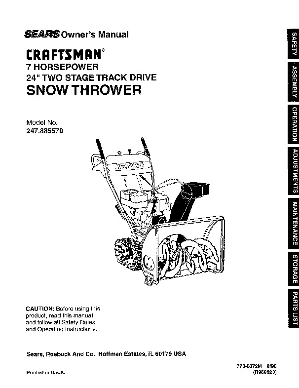 craftsman 247 885570 24 inch snow blower owners manual rh lawn garden filemanual com Craftsmen Model Snowblower Track Craftsmen Model Snowblower Track
