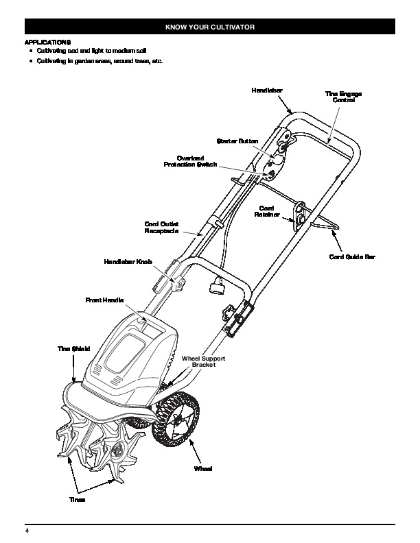Huskee Mower Manuals : Mtd tb electric gardern cultivator lawn mower owners manual