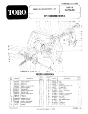 Toro 38052 521 Snowthrower Parts Catalog, 1985 page 1