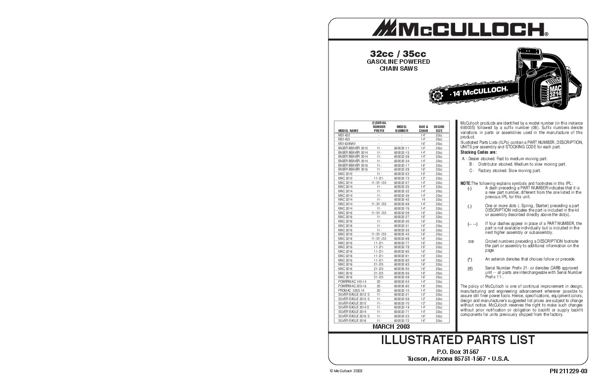 Mcculloch mac 3214 chainsaw manual