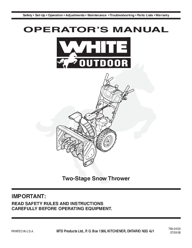 mtd white outdoor 769 04123 snow blower owners manual rh filemanual com White Snowblower Co White Snow Blower Parts