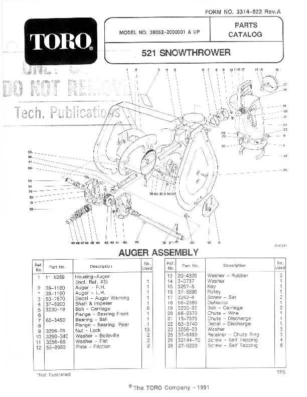 toro 38052 521 snowblower manual  1992