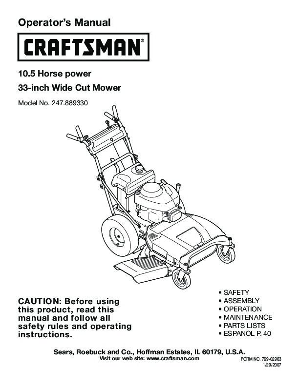 Craftsman 2 4000 Mower Owners Manual