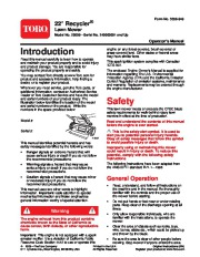 Toro 20009 22-Inch Recycler Lawn Mower Owners Manual, 2007 page 1