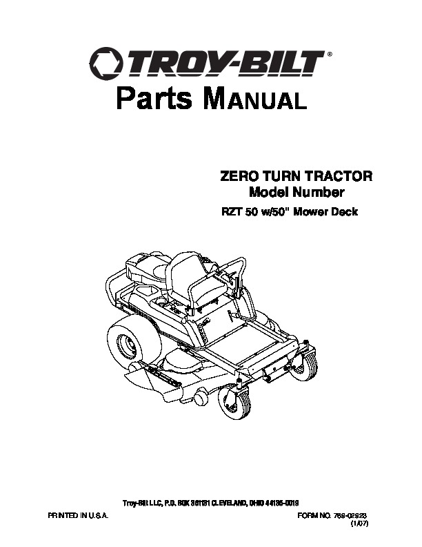 mtd troy bilt zero turn tractor rzt 50 w inch deck lawn mower parts list rh lawn garden filemanual com troy bilt parts manual tb625ec troy bilt parts manual tb22ec