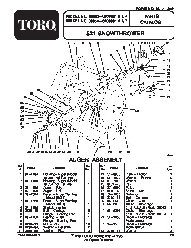 toro 38054 521 snowblower manual  1996