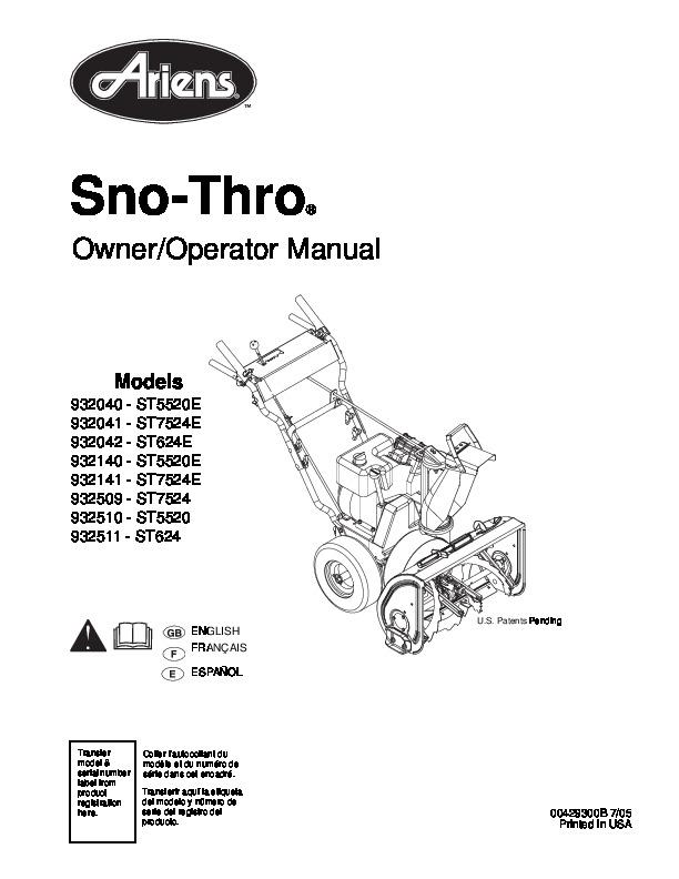 Ariens Deluxe 30 Snowblower Manual