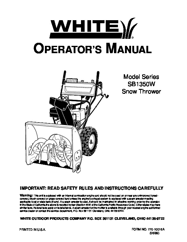 mtd white outdoor snow sb1350w snow blower owners manual rh filemanual com White Snowblower Co White Outdoor Snowblower