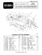 Toro 38025 1800 Power Curve Snowthrower Parts Catalog, 1990 page 1