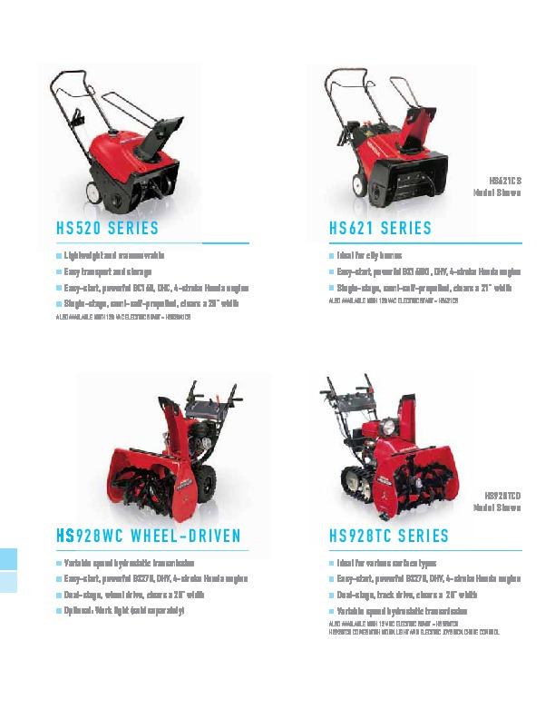 honda hs520 hs621 hs928wc hs928tc snow blower catalog