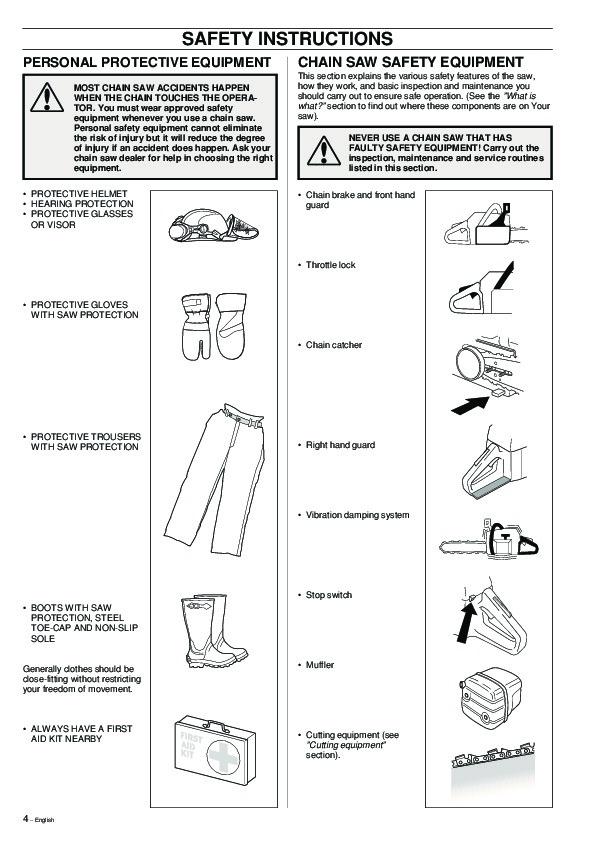 Husqvarna 357XP 359 Chainsaw Owners Manual, 2002,2003,2004