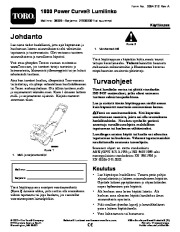 Toro 38026 1800 Power Curve Snowthrower Owners Manual, 2009 page 1