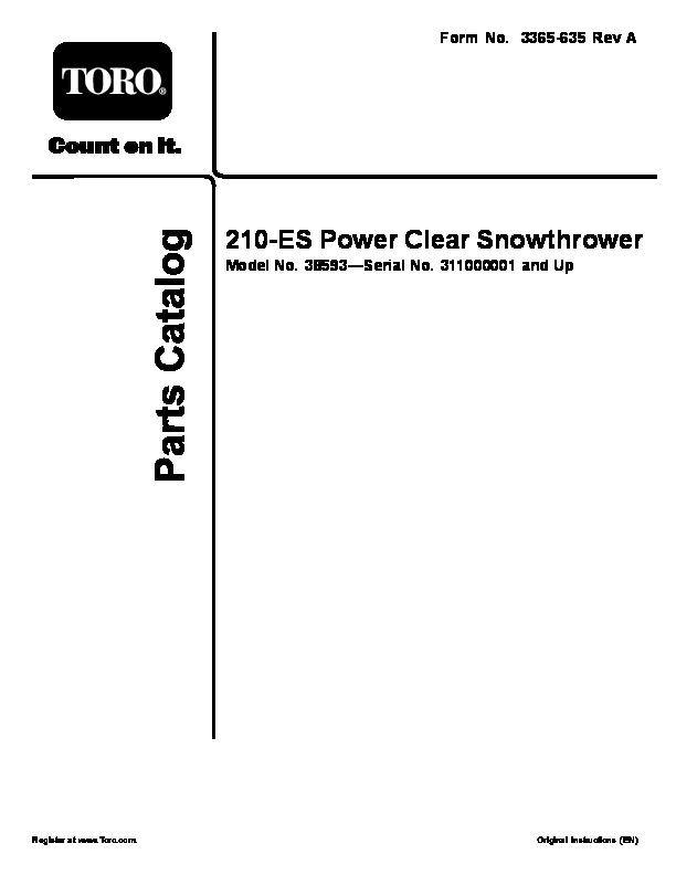 Toro Power Clear 210 Manual : Toro power clear es snow blower parts manual