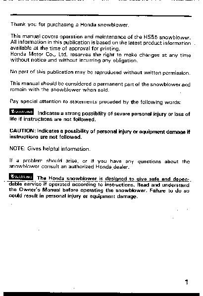 honda hs55 snow blower owners manual rh filemanual com Honda Snowblower Sale Honda Snowblower HS928