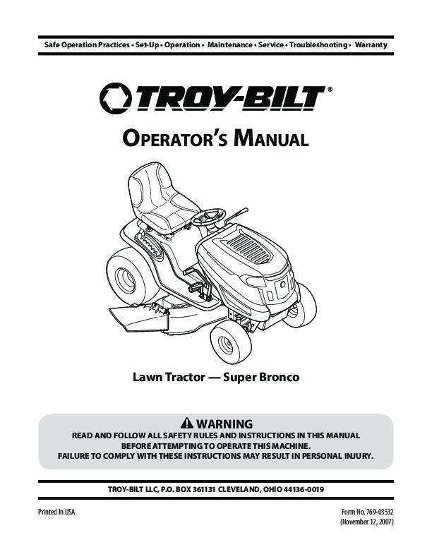 mtd troy bilt super bronco garder tractor lawn mower owners manual rh filemanual com Troy-Bilt Pony Mower Deck Troy-Bilt Pony 17.5 HP