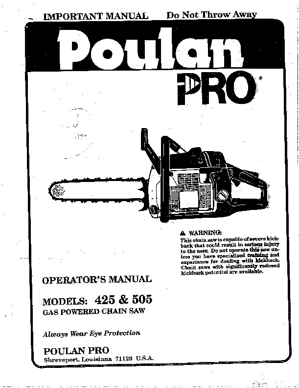 poulan pro 425 505 chainsaw owners manual  1994