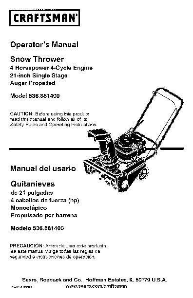 Craftsman Snow Thrower Parts Manual : Craftsman inch snow blower owners manual