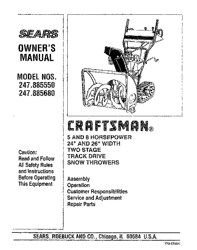 craftsman 247 885550 247 885680 24 28 inch snow blower owners manual rh lawn garden filemanual com craftsman owners manuals free download craftsman owners manual 114a1752