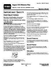 Toro 51552 Super 325 Blower/Vac Manual, 2005 page 1