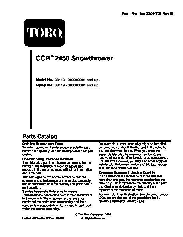 toro ccr 3650 gts 38440 snow blower owners and service manual 2000 rh lawn garden filemanual com Toro CCR 3650 Owner S Manual Toro CCR 3650 Parts Diagram