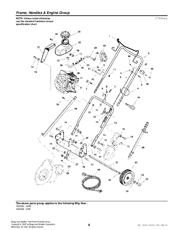 Simplicity Parts Diagram | Simplicity 520 1694585 1694586 Single Stage Snow Blower Parts Manual
