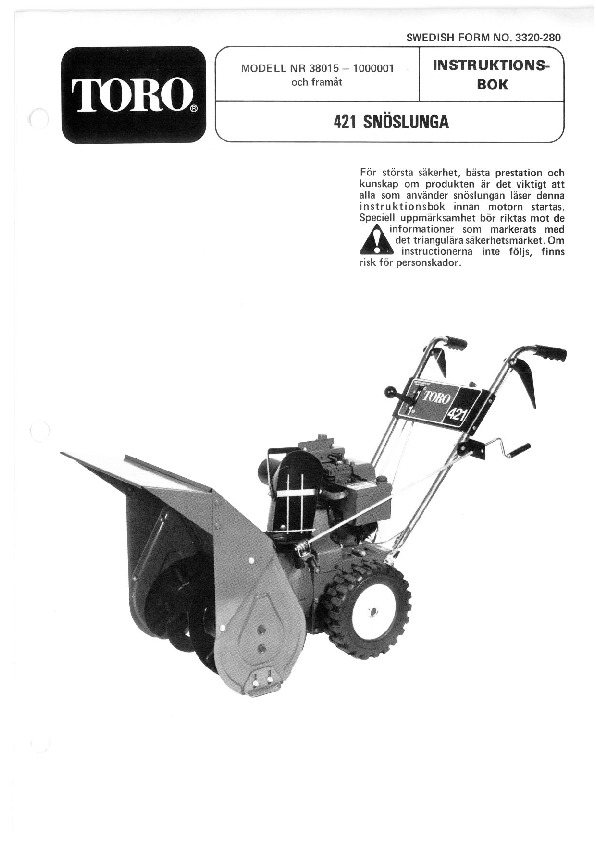 Toro 38015 421 Snowblower Manual 1981