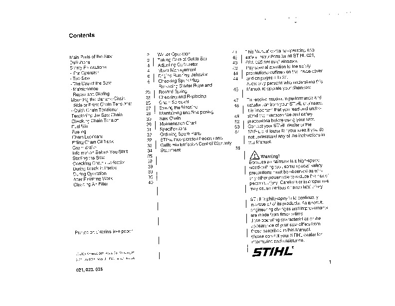 stihl ms 021 023 025 chainsaw owners manual rh filemanual com stihl 023 service manual free download stihl 023 repair manual