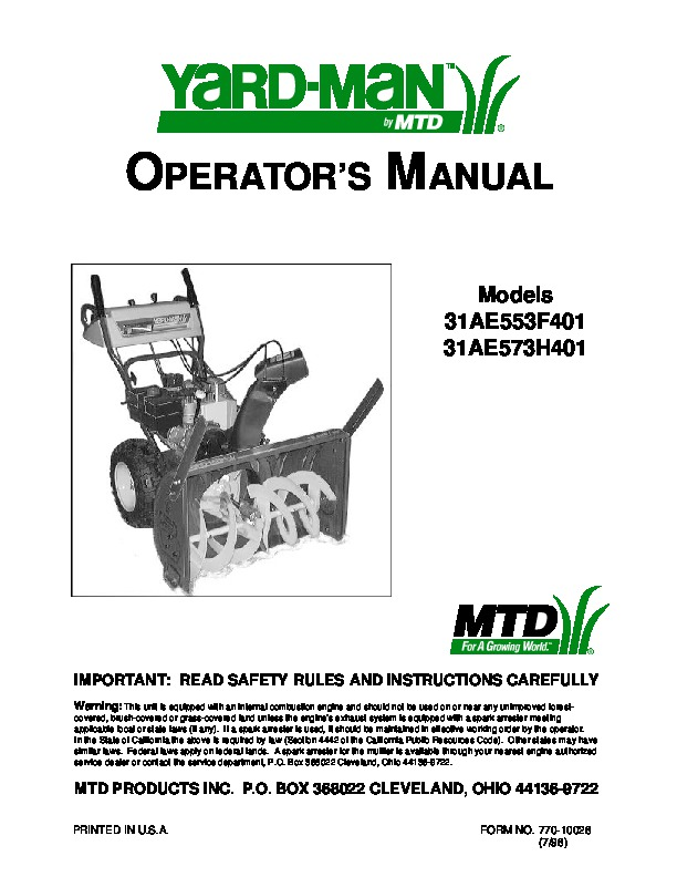 mtd yard man 31ae553f401 31ae573h401 snow blower owners manual rh filemanual com mtd snowblower repair manuals online yard machine snowblower repair manual