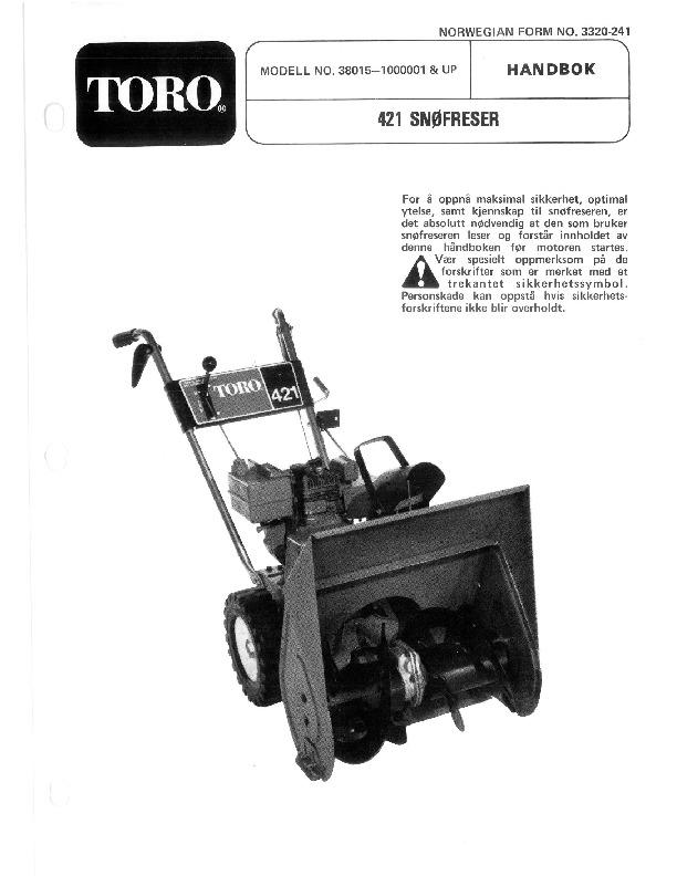 toro 38015 421 snowblower manual 1982 1983 rh lawn garden filemanual com toro 421 snowblower parts diagram toro 421 snowblower owners manual