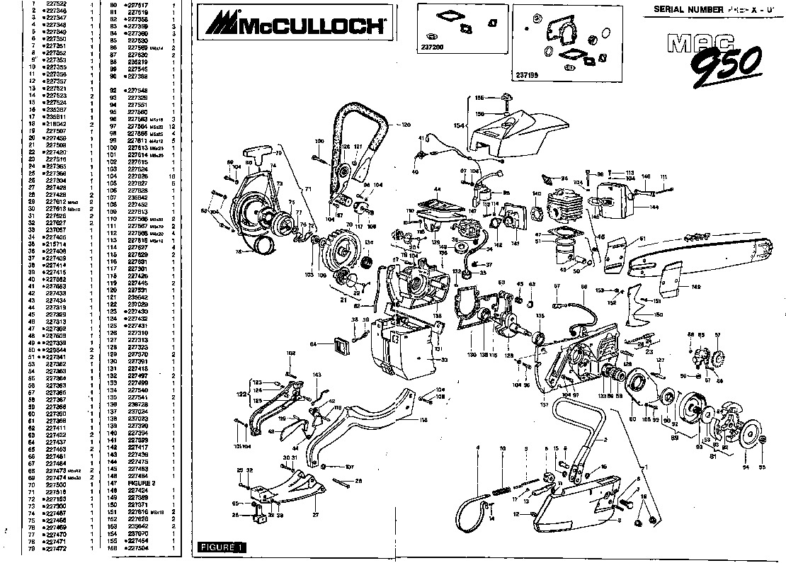 mcculloch mac 950 chainsaw parts list  1990 1991 1992 1993 1994 1995 1996 1997 1998 1999 2000 2001 Vintage McCulloch Chainsaw Vintage McCulloch Chainsaw