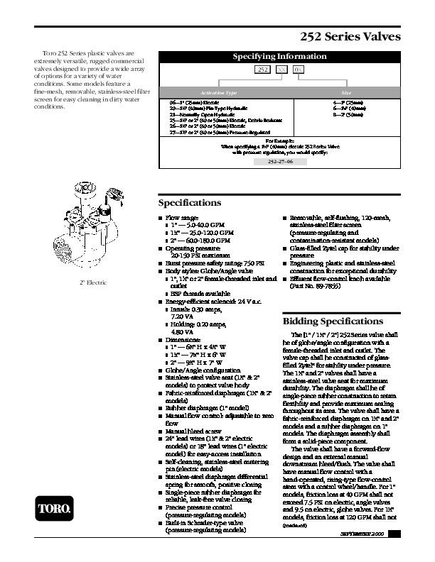Toro 252 Series Valvesro Sprinkler Irrigation Owners Manual