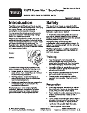 Toro Power Max 726TE 38611 Snow Blower Owners and Service Manual 2005 page 1