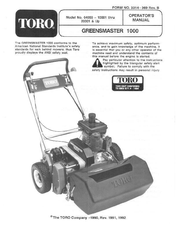 toro 04050 greensmaster 1000 lawn mower owners manual 1992 rh lawn garden filemanual com toro lawn mower parts manual toro lawn mower parts manual