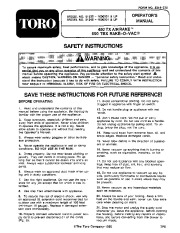 Toro 51535 450 TX Air Rake Manual, 1991 page 1