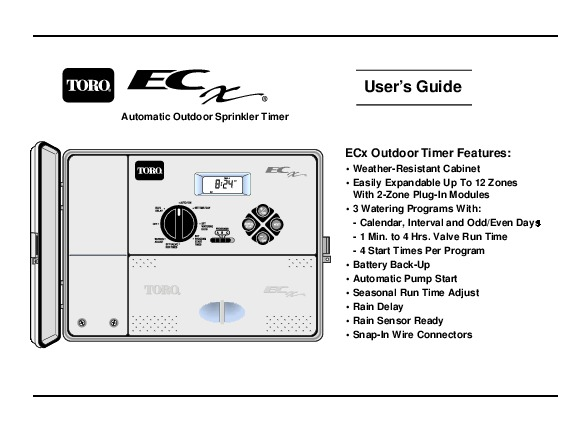 Toro Users Guide Automatic Outdoor Sprinkler Timer Ecx Owners Manual