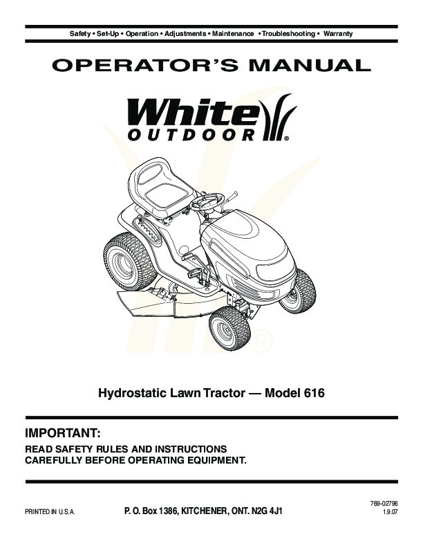 mtd white outdoor 616 hydrostatic tractor lawn mower owners manual rh lawn garden filemanual com Zero Turn Mower Owners Manual white outdoor lawn tractor owner's manual