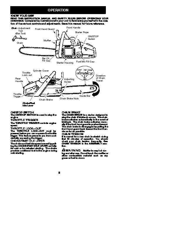 Poulan Chainsaw Manual Pp4218avx