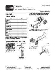 Toro 51612 Leaf Collection Cart Owners Manual, 2004, 2005, 2006 page 1