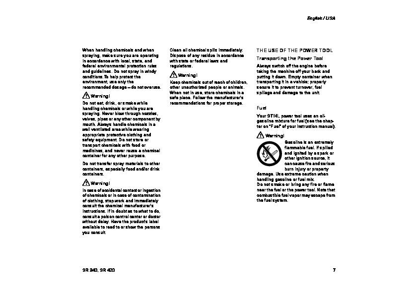 stihl sr420 mist blower manual