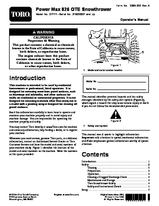 toro 37777 power max 826 ote snowblower manual 2015 rh lawn garden filemanual com toro 826 snowblower parts toro 826 snowblower 38150 manual