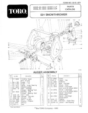 Toro 38054 521 Snowthrower Parts Catalog, 1993 page 1