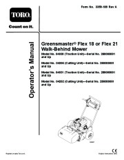 Toro 04030 04206 04031 04202 Greensmaster Flex 18 Flex 21 Lawn Mower Owners Manual, 2008 page 1
