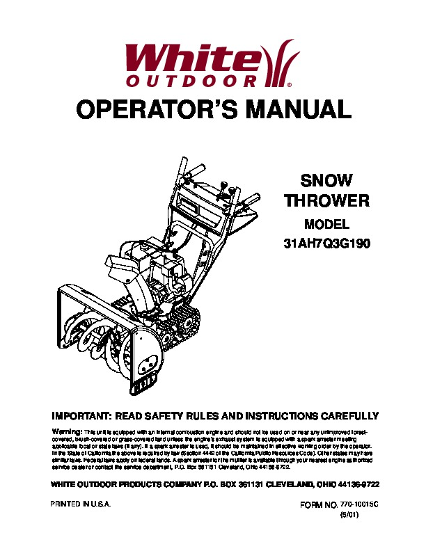 white outdoor snow blower manuals rh lawn garden filemanual com White Snow Blower Parts White Snow Blower Parts