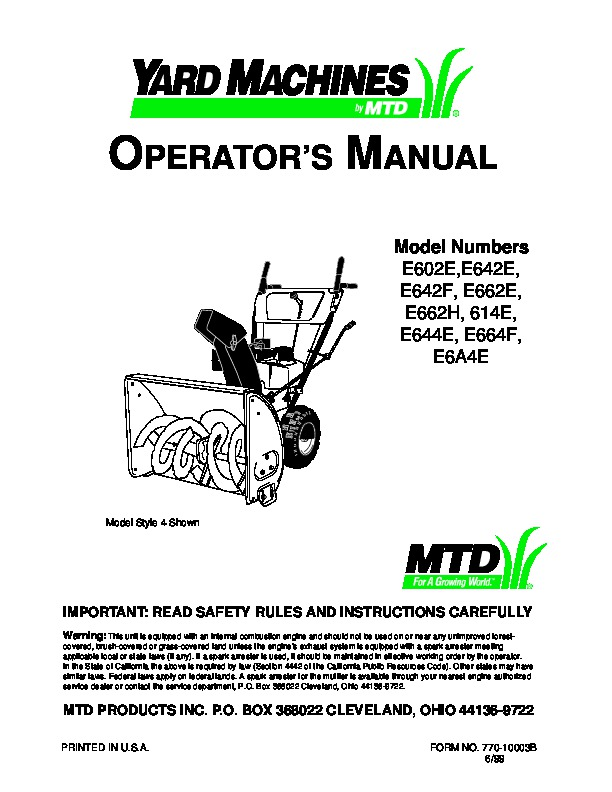 mtd yard machines e602e e642ee642f e662e e662h 614e e644e e664f rh filemanual com mtd yard machine service manual mtd yard machine edger owners manual