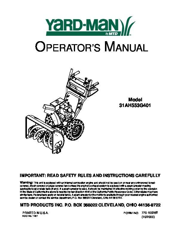 mtd yard man 31ah553g401 snow blower owners manual rh filemanual com MTD Yardman Riding Mower 42 In Yardman MTD Carburetor Schematic