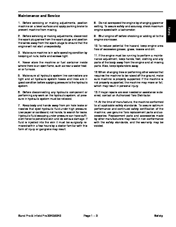 toro 06147sl rev a service manual sand pro field pro 3040 5040 preface rh lawn garden filemanual com Toro Mower Wiring Diagram Toro Wheel Horse Wiring-Diagram