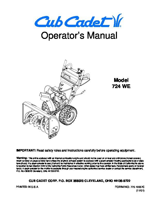 mtd cub cadet 724 we snow blower owners manual cub cadet snow blower manual and parts list cub cadet snow blower manual 109-032