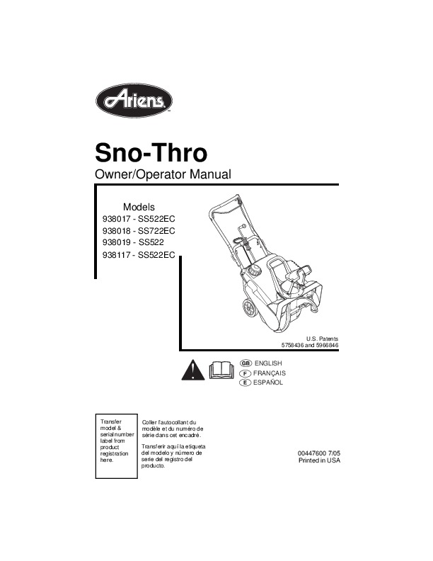 ariens sno thro 938017 ss522ec 938018 ss722ec 938019 ss522 938117 rh filemanual com ariens st824 snowblower service manual ariens snowblower service manual