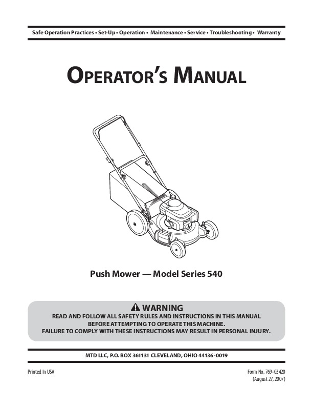 Mtd 540 Series Push Lawn Mower Owners Manual