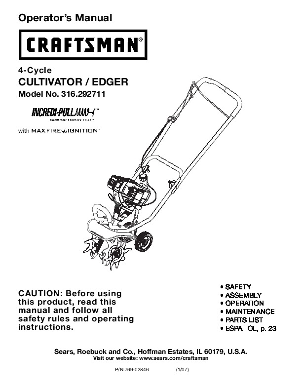 craftsman 316 292711 4 cycle cultivator edger lawn mower owners manual rh lawn garden filemanual com Craftsman Rototiller Manual Troy-Bilt Rototiller